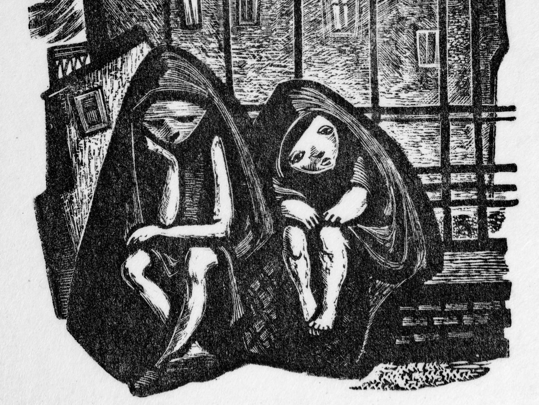 """Fragment drzeworytu Marii Hiszpańskiej """"Dzieci i miasto"""", 1947"""
