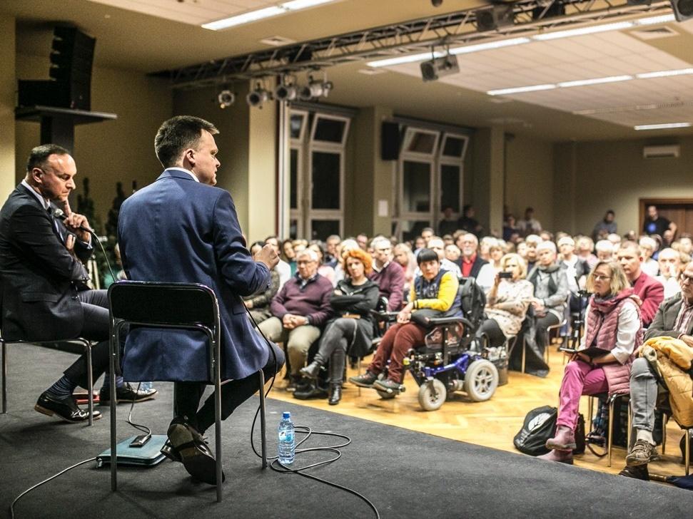 Szymon Hołownia podczas jednego ze spotkań z sympatykami, styczeń 2020