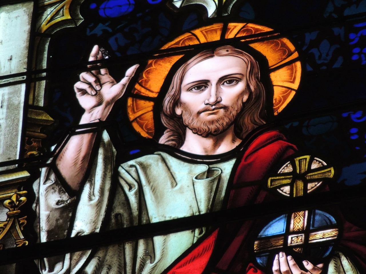 Jezus na witrażu