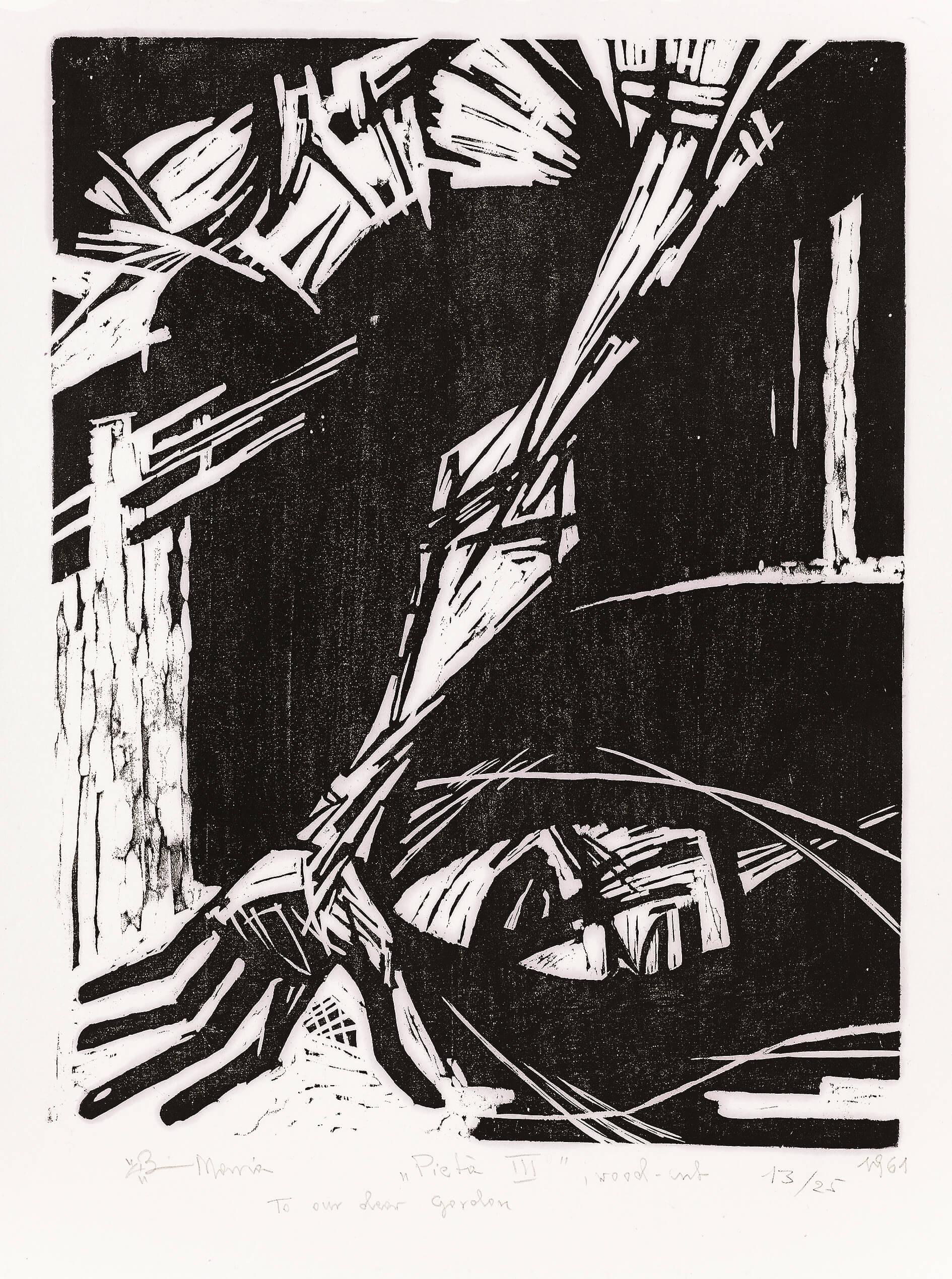 Pietà III, 1961, drzeworyt, 63,5×52cm, Zachęta