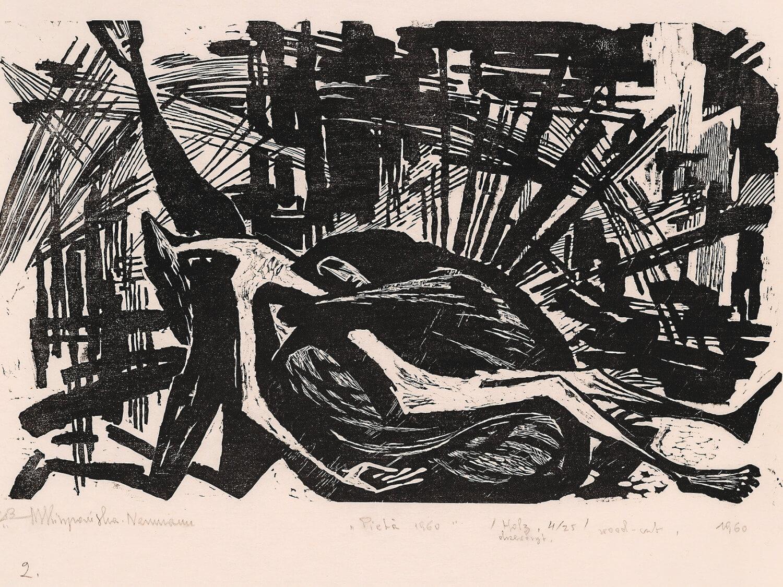 Pietà [I], 1960, drzeworyt, 38,5×58cm, Zachęta