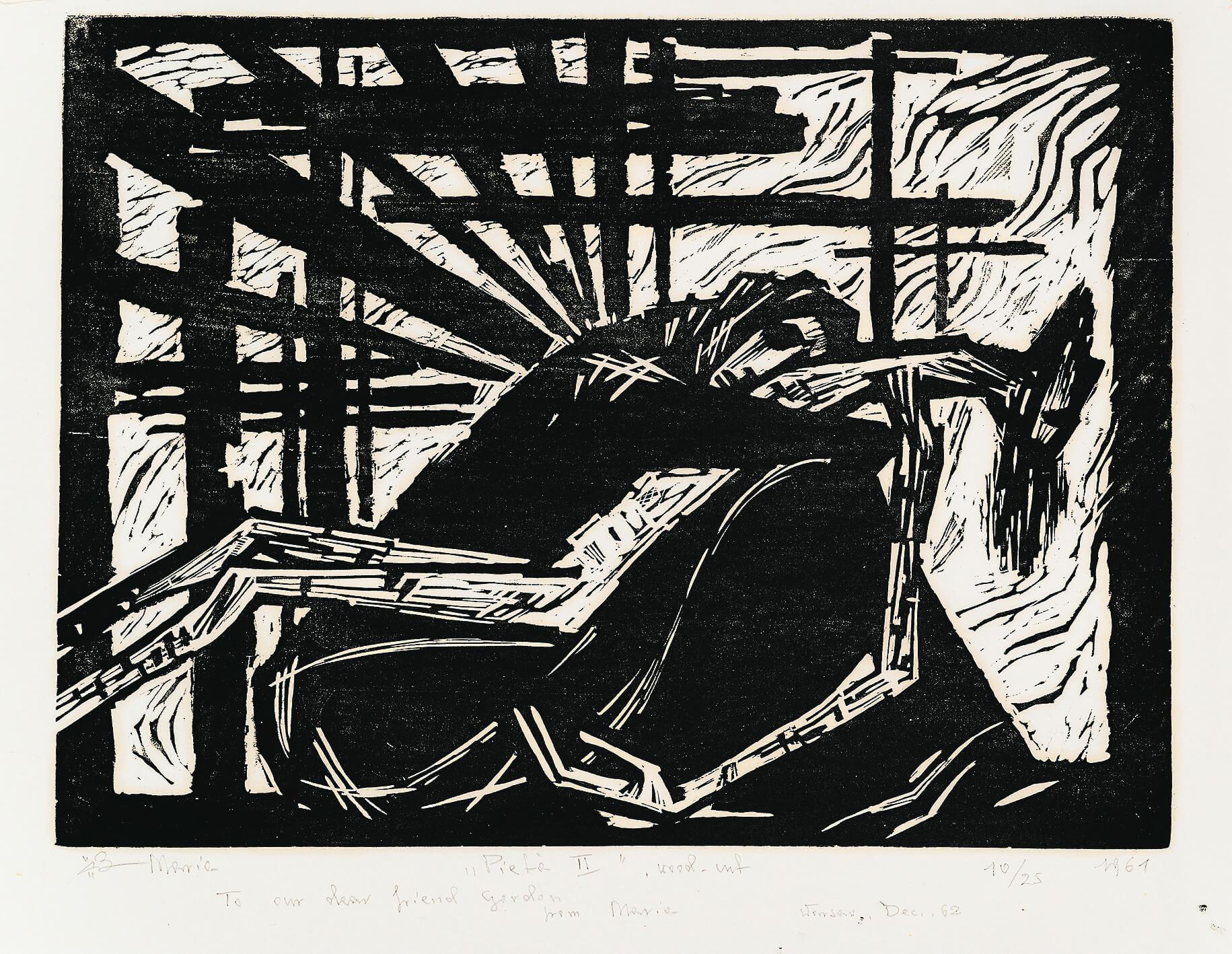 Pietà II, 1961, drzeworyt, 47×64cm, Zachęta