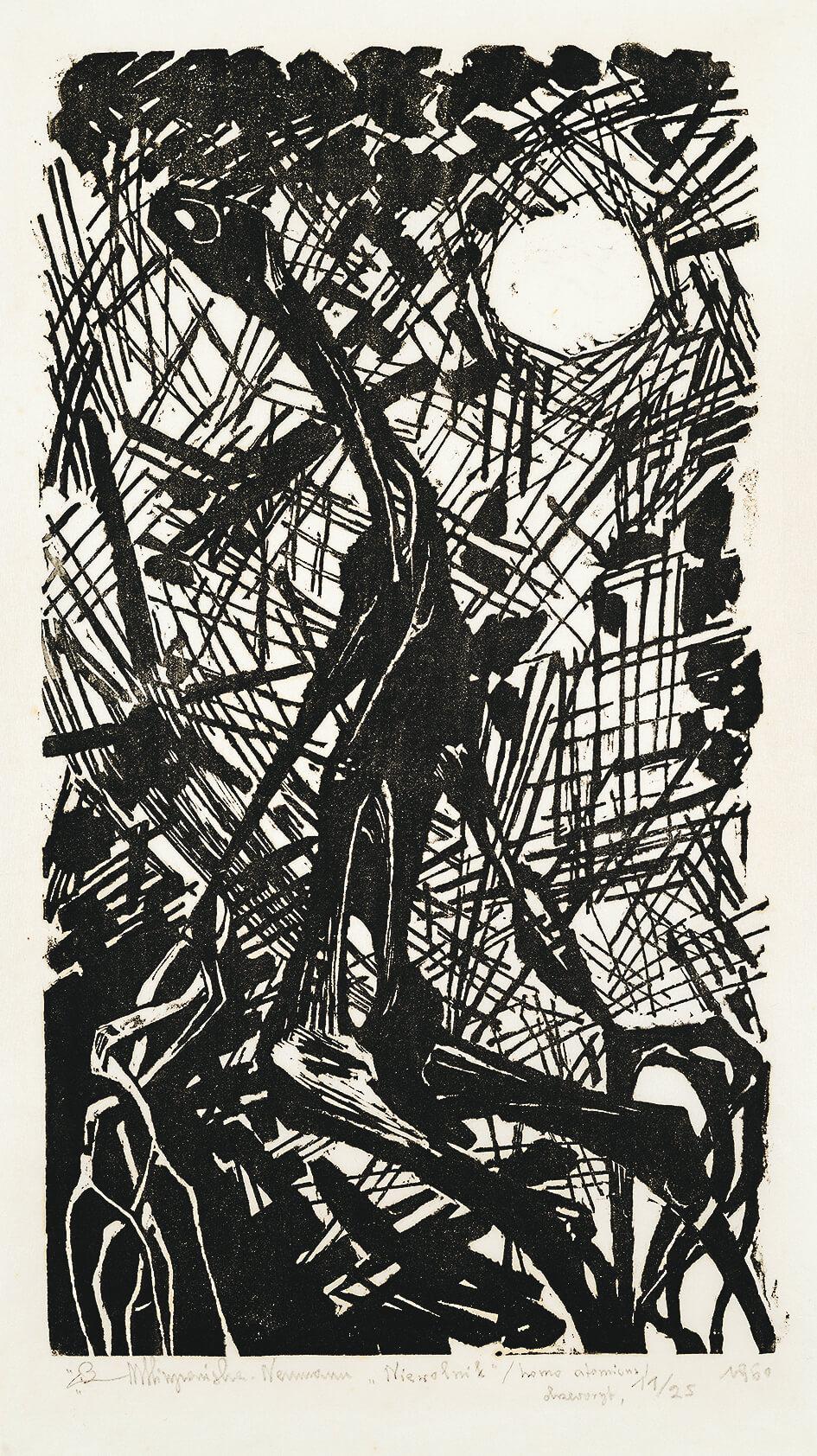 Niewolnik– homo atomicus, 1960, drzeworyt, 45×25cm, Zachęta