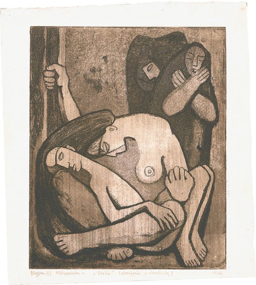 Pietà, 1948, akwaforta zakwatintą, 24,6×20cm, MNW