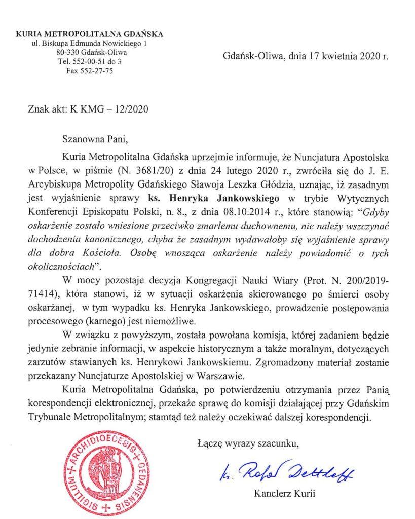 List kurii gdańskiej z 17 kwietnia 2020 r. do Barbary Borowieckiej