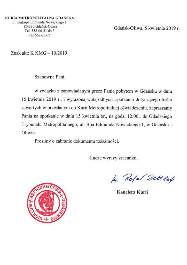 Zaproszenie Barbary Borowieckiej do kurii gdańskiej, kwiecień 2019