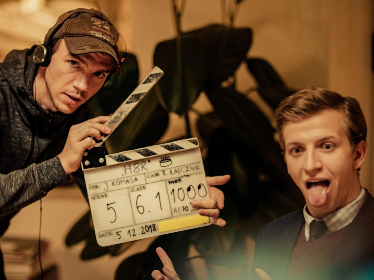 """Jan Komasa i Maciej Musiałowski na planie filmu """"Sala samobójców. Hejter"""""""