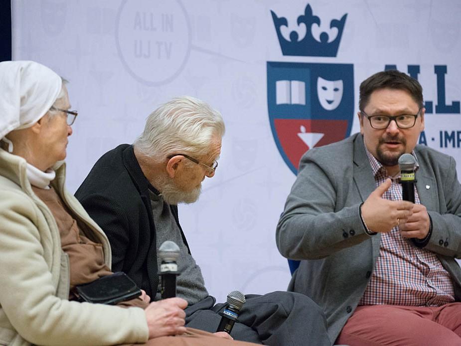 Małgorzata Chmielewska, ks. Adam Boniecki i Tomasz Terlikowski