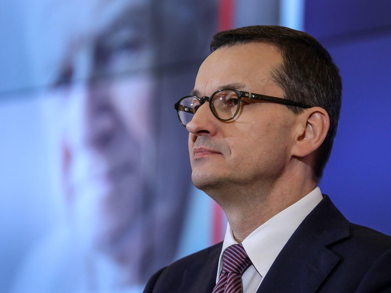 Premier Mateusz Morawiecki podczas konferencji prasowej
