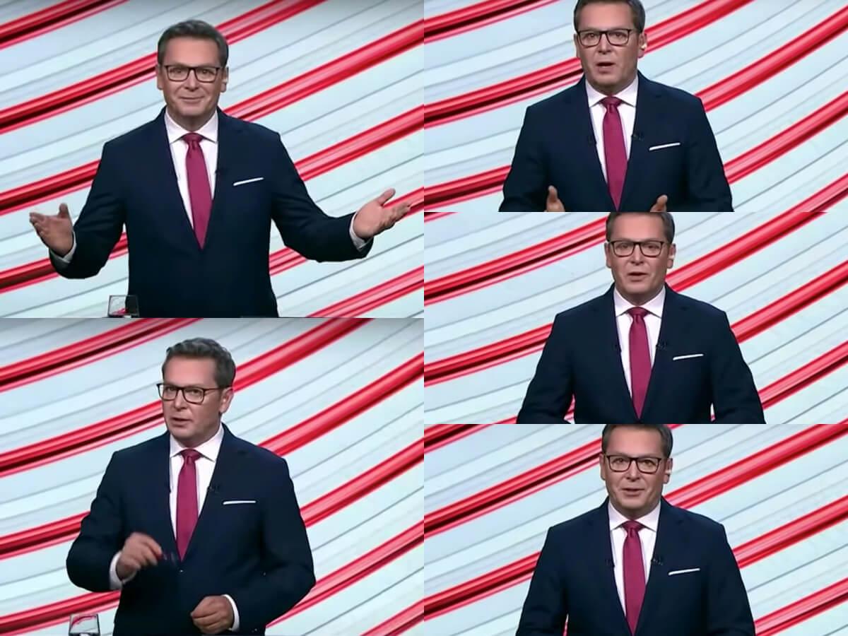 Michał Adamczyk podczas debaty prezydenckiej w TVP 17 czerwca 2020 r.