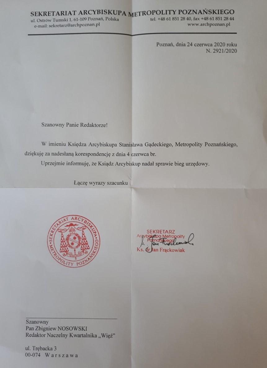 """Pismo kurii poznańskiej do redaktora naczelnego """"Więzi"""" Zbigniewa Nosowskiego"""