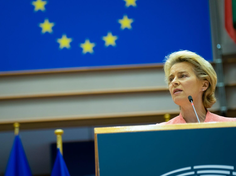 Przewodnicząca Komisji Europejskiej Ursula von der Leyen wygłasza orędzie o stanie Unii w Parlamencie Europejskim