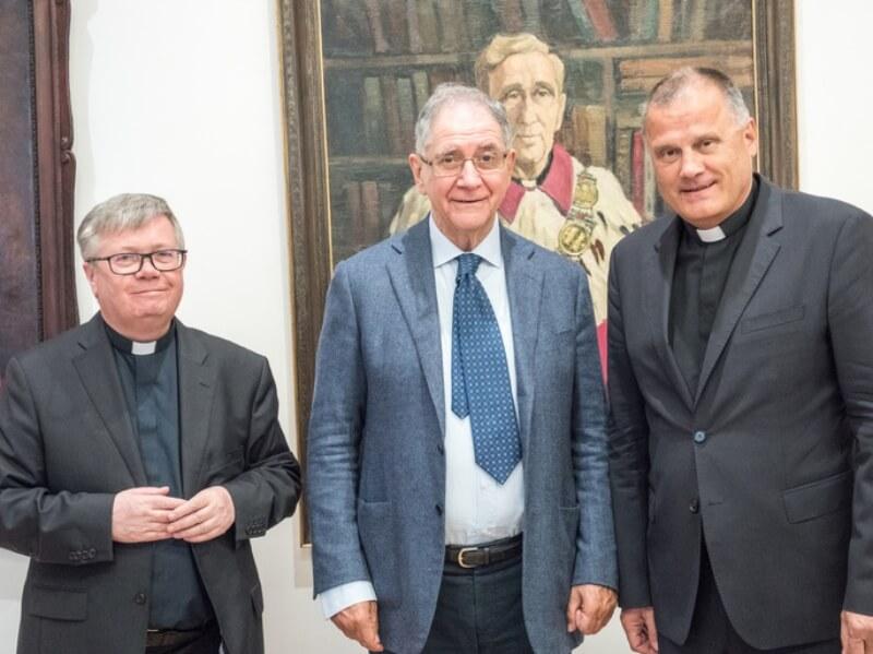 ks. prof. Alfred Wierzbicki, prof. Rocco Buttiglione i ks. prof. Antoni Dębiński
