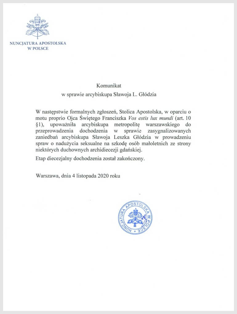 Komunikat w sprawie arcybiskupa Sławoja Leszka Głódzia