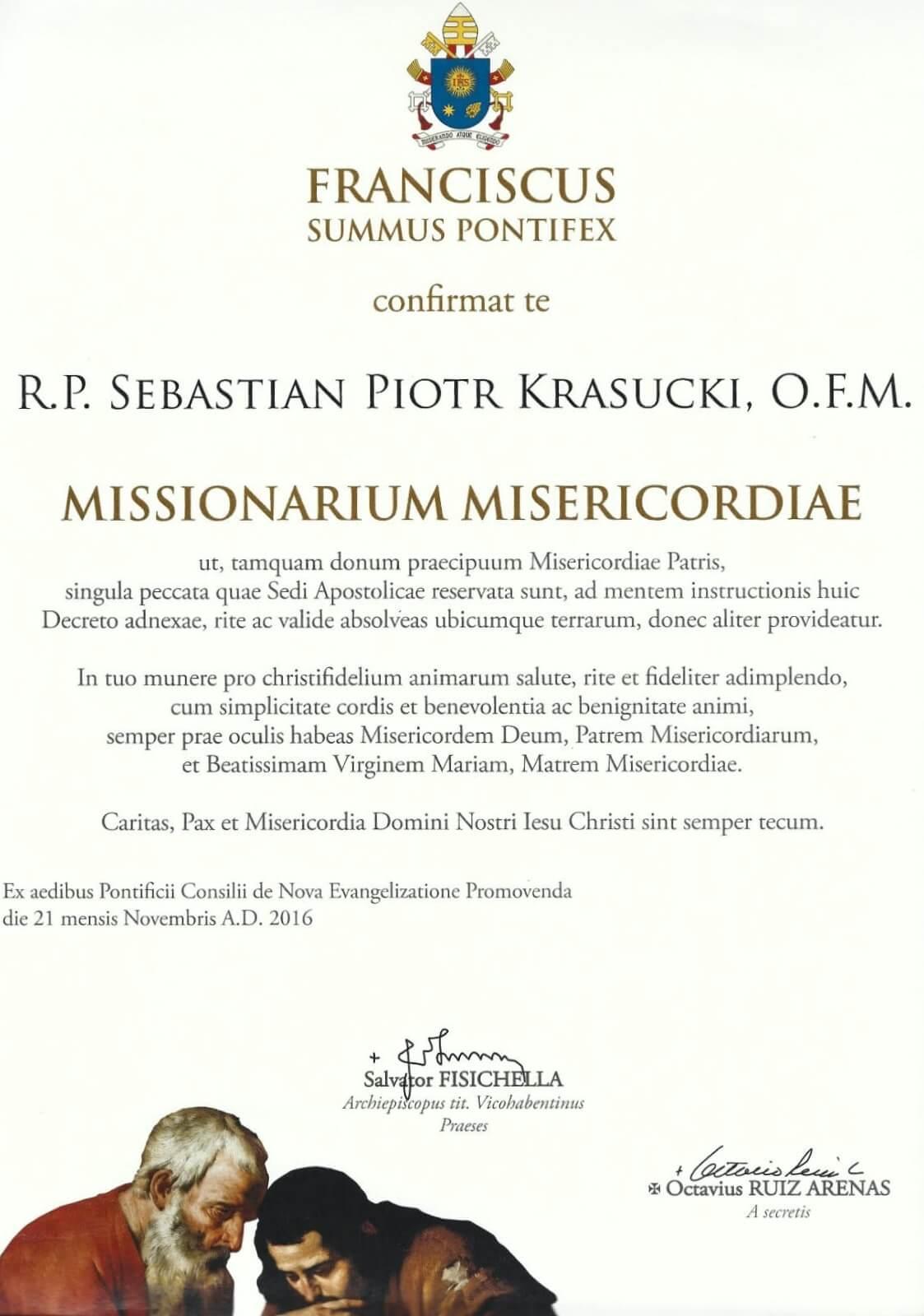 Akt nominacji ojca Tarsycjusza na papieskiego misjonarza miłosierdzia
