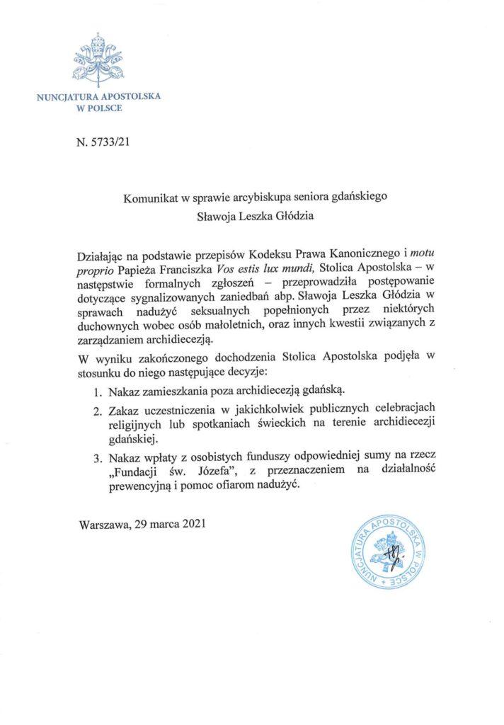 Komunikat dotyczący abp. Sławoja Leszka Głódzia
