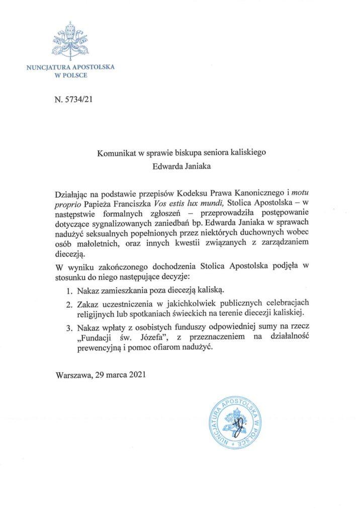 Komunikat dotyczący bp. Edwarda Janiaka