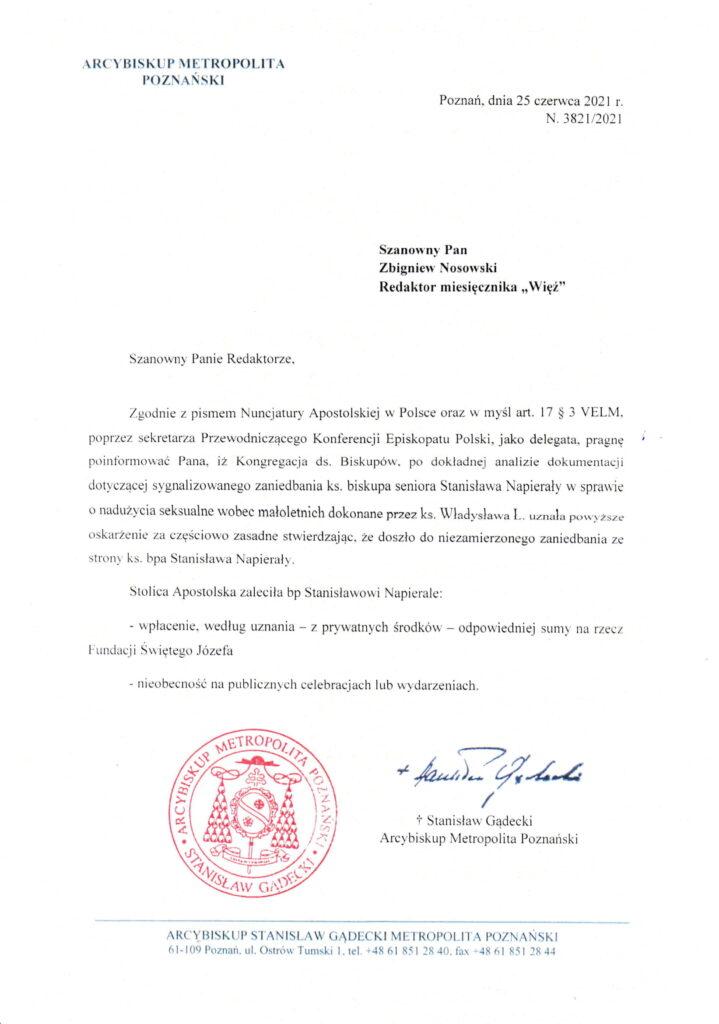 Pismo od abp. Stanisława Gądeckiego