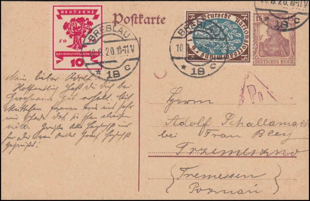 pocztówka Adolf Schallamach - Franciszka Schallamach (Bley)