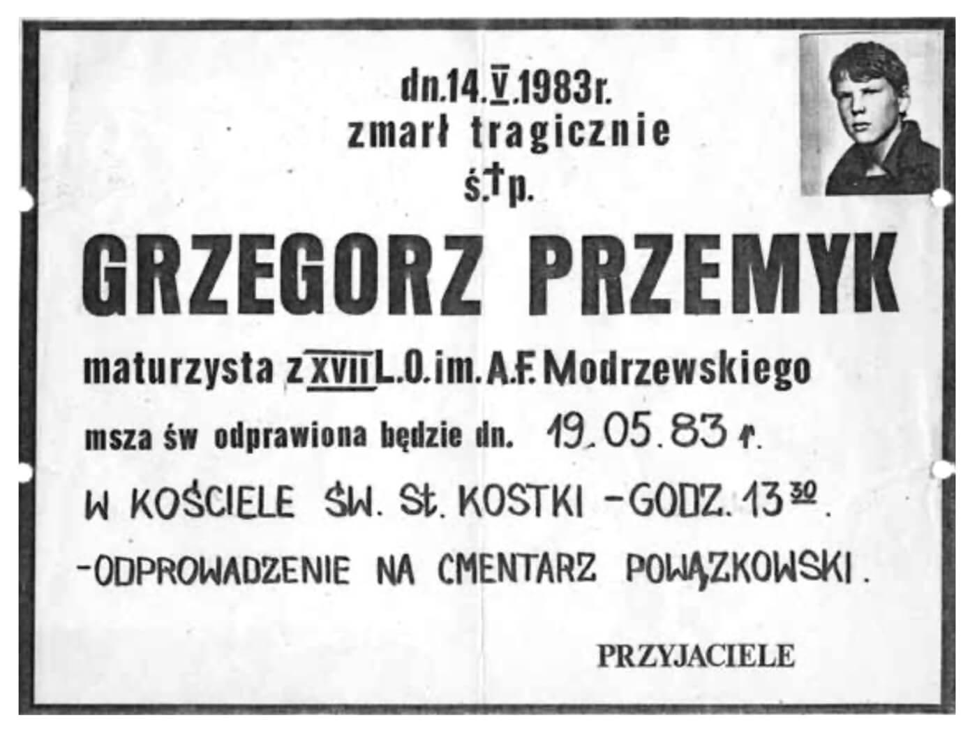 Nekrolog Grzegorza Przemyka, 14 maja 1983 roku
